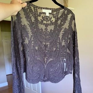 Brand new cropped bohemian lace long sleeve